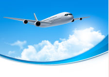 Travel background with an airplane and white clouds. Stock Images