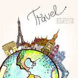 Travel background.  All elements and textures are individual objects. Vector illustration scale to any size. Stock Photos