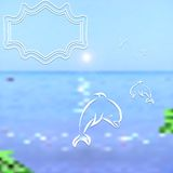 Travel background. Bright blurred sea and sky with painted seagulls and dolphins Stock Photos