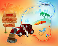 Travel background with classic car in front of exotic view Stock Image