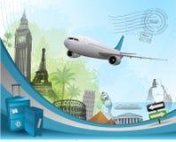 Travel background. Design with famous landmarks elements eps 10 Royalty Free Stock Photos