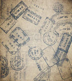 Travel background. With different passport stamps Royalty Free Stock Photos