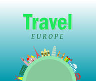 Travel background, European cities Royalty Free Stock Photography