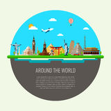 Travel background with famous world landmarks icons. Vector Royalty Free Stock Image