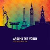 Travel background with famous world landmarks icons. Vector. Illustration Stock Image
