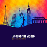 Travel background with famous world landmarks icons. Vector. Illustration Stock Photography
