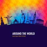 Travel background with famous world landmarks icons. Vector. Illustration Stock Photo