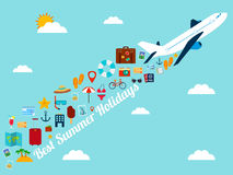 Travel background with flat icons. Summer holidays background. Travel and tourism concept. Vector Stock Photography