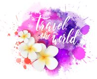 Travel background with flowers. Abstract travel background with plumeria flowers on colorful watercolor splash. Travel the world handwriten modern calligraphy stock illustration