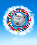 Travel background. Globe with a plane and a circle of flags. And blue sky. Vector Vector Illustration