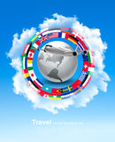 Travel background. Globe with a plane and a circle of flags. And blue sky. Vector Royalty Free Illustration