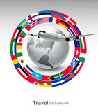 Travel background. Globe with a plane and a circle of flags Royalty Free Stock Photos