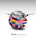 Travel background. Globe with a plane and a circle of flags. Royalty Free Stock Images