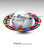 Travel background. Globe with a plane and a strip of flags. Vector Stock Image