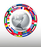 Travel background. Globe with a strip of flags. Royalty Free Stock Image