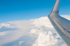 Travel background image of wing in the sky Royalty Free Stock Photography