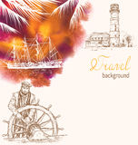 Travel background with lighthouse, ship silhouette and Captain Stock Photography
