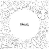 Travel background from line icon vector illustration