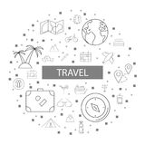 Travel background from line icon. Linear vector pattern Stock Image