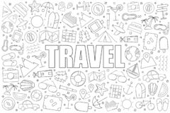 Travel background from line icon. Linear vector pattern. Vector illustration royalty free illustration