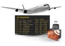 Travel background with mechanical departures board. And airline. Vector stock illustration