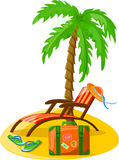 Travel background, palm, lounge,vector. Travel background, palm, lounge, flip-flops,vector illustration picture Royalty Free Stock Photography