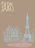 Travel background postcard Paris. Travel the background of the poster or postcard template Paris with Eiffel tower view stock illustration