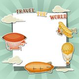Travel background with retro air transport. Vintage aerostat airship, blimp and plain in cloudy sky Royalty Free Stock Images