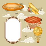 Travel background with retro air transport. Vintage aerostat airship, blimp and plain in cloudy sky Royalty Free Stock Image