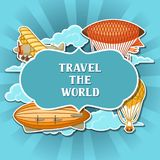 Travel background with retro air transport. Vintage aerostat airship, blimp and plain in cloudy sky Royalty Free Stock Photography