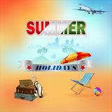 Travel background with sun bed and umbrella Royalty Free Stock Images