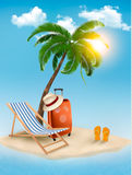 Travel background with tropical island. Royalty Free Stock Photos