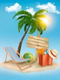 Travel background with tropical island. Summer vac Royalty Free Stock Photography