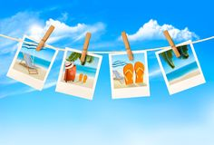 Travel background with vacation photos hanging on a rope. Vector stock illustration