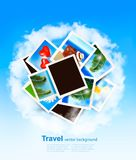 Travel background with vacation photos. Vector Stock Images