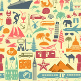 Travel background. Vacations. Beach resort seamless pattern Royalty Free Stock Photos