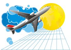 Travel background - vector. Travel background with airplane and world - vector Stock Photos