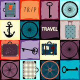 Travel background with wheels and suitcases Royalty Free Stock Photos