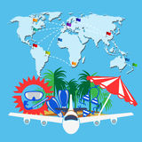 Travel background with word map. Airplane and summer elements. Vector illustration vector illustration