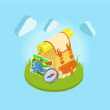 Travel backpack on grass: compass, map: tourism vector isometric royalty free illustration