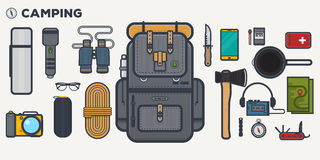 Travel backpack line illustration Royalty Free Stock Photos