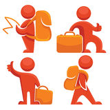 Travel. Backpack travelers, vector collection of travel symbols Royalty Free Stock Images