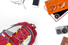 Travel Backpacker is preparing stuff for vacation holiday. Travel top view Stock Photos