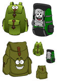 Travel backpacks cartoon characters with pockets Royalty Free Stock Photography