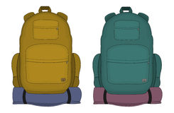 Travel  backpacks. Mustard and aqua blue colors Stock Photo