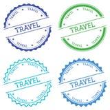 Travel badge isolated on white background. Stock Photo