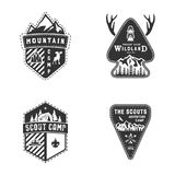 Travel badges, outdoor activity logo collection. Scout camps emblems. Vintage hand drawn travel badge design. Stock royalty free illustration