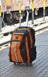 Travel bag. On railway station Stock Images