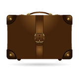 Travel bag. Vintage brown leather travel bag over white background Royalty Free Stock Photo