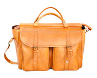 Travel bag. Camel color leather travel bag isolated over white background Royalty Free Stock Photo